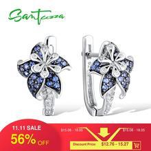 SANTUZZA Silver Earrings For Woman Pure 925 Sterling Silver Blue Pink Star Flower Cubic Zirconia Trendy Fashion Jewelry