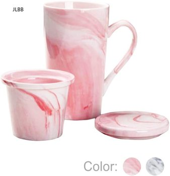 Marble Ceramic Tea Cup Infuser and Lid,Coffee Mug, Grey Marble Cup for Women, Girl, Wife, Mom, Grandma, Sister, Girlfriend Men 1