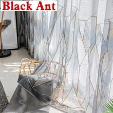 Tulle Curtain Living-Room Nordic Voile Window-Screen-Decor Bedroom Geometric Grey