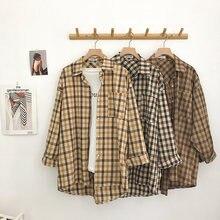 Женская клетчатая рубашка оверсайз с длинным рукавом и отложным