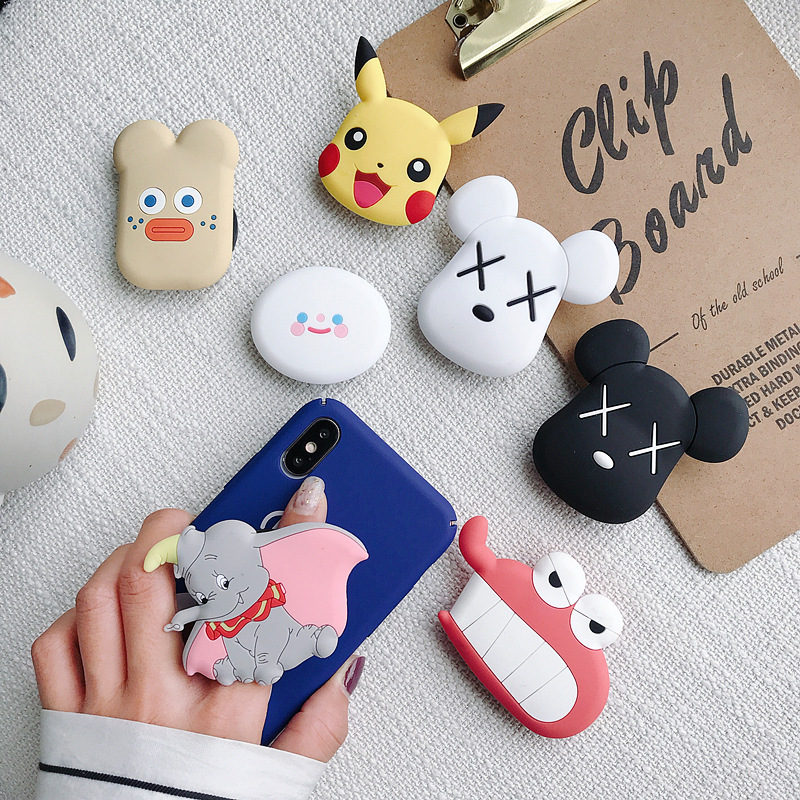 Cute 3D Cartoon Airbag Universal Phone Socket Bracket Phone Expanding Stand Holiday Gift Finger Cell Phone Holder Phone Stand
