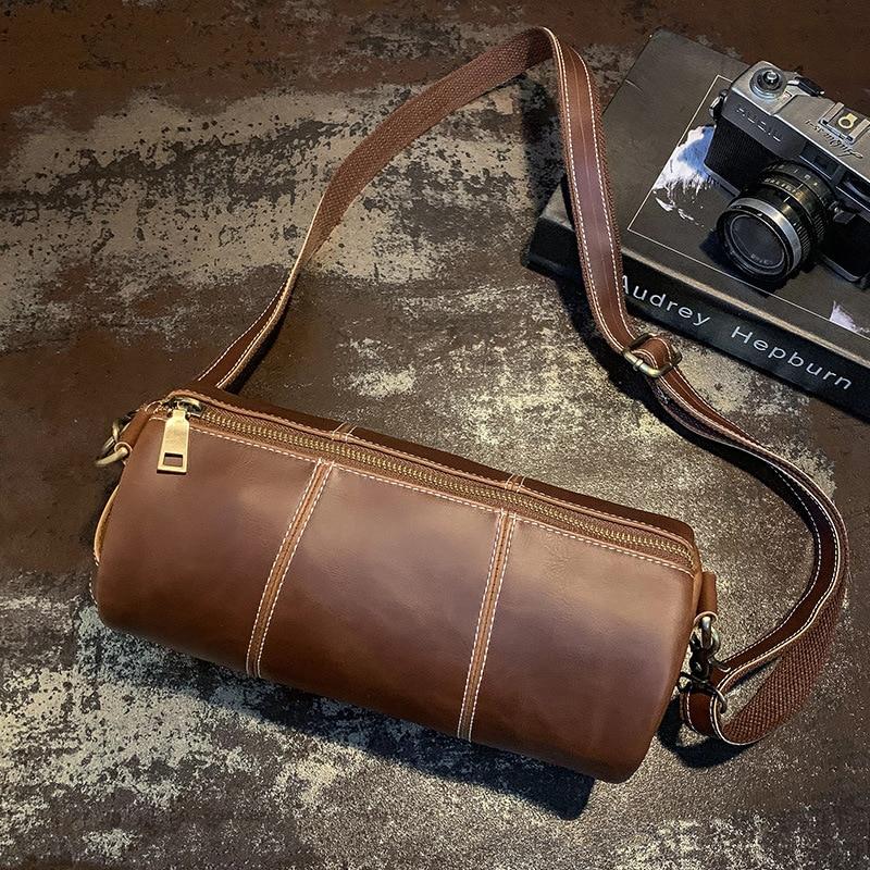 Fashion Messenger Bag Brand PU Leather Men Crossbody Bags Casual Bucket Messenger Travel Bags Barrel