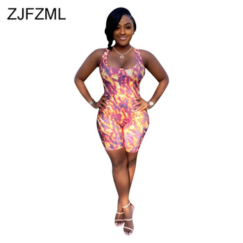 Printed Sexy Backless Tie Up Playsuit Women Sleeveless Bandage Short Jumpsuits Party Club Hollow Out Bodycon One Piece Bodysuits purple sexy cut out backless playsuit with self tie design
