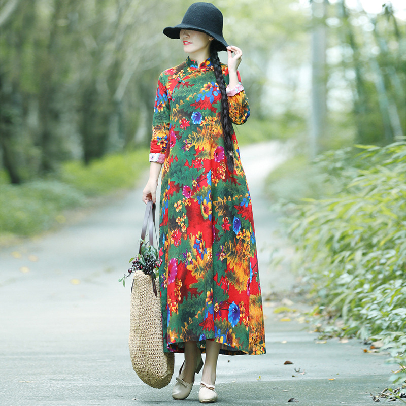 2018 Autumn New Style WOMEN'S Dress Loose-Fit Slimming Ethnic-Style Elegant Mid-length Stand Collar Printed Cotton Linen Dress