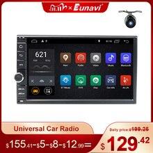 Eunavi 2 Din 7 универсальный автомобильный радиоприемник на Android, Автомобильный GPS мультимедийный плеер, 4G, WIFI навигация, сенсорный экран, сабвуфер, USB DSP