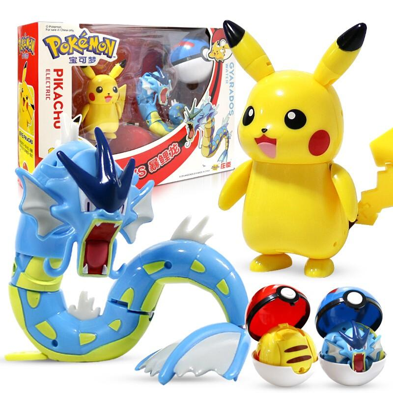 Pokemon Pikachu Gyarados Toys Model Pocket Elf Ball Manual Deformation Robot Elf Baby Set Movie & TV Toy Figure