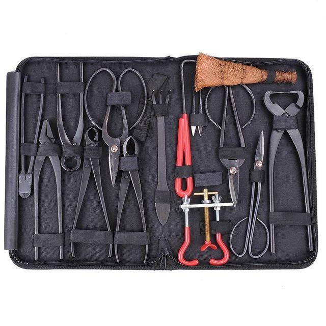 Conjunto de ferramentas de alta qualidade bonsai multi função bonsai kit 14 peças conjunto de tesoura de aço carbono e kit de ferramentas/rolo fios