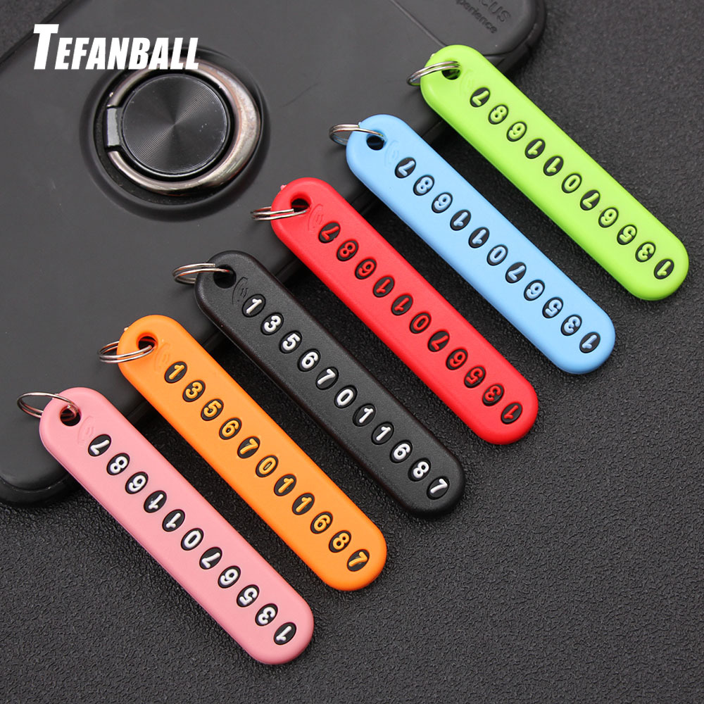 Plastic Anti-Lost Phone Number Plate  Keychain Car Keyring  Collar Pendant
