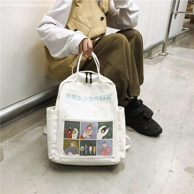 New Style Japanese-style Harajuku Cute Cartoon Backpack Korean-style INS Campus Students Canvas School Bag