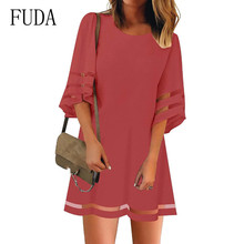 FUDA 4XL 5XL Plus Size Summer Dress Patchwork Mesh Elegant Women Large Loose Mini Lady Party Big Vestidos