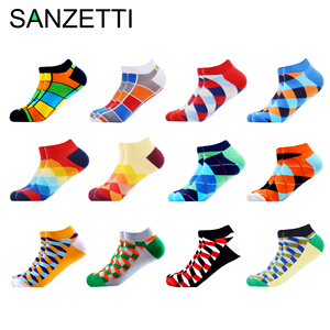 Image 1 - SANZETTI 12 Pairs/Lot Mens Casual Summer Ankle Socks Colorful Happy Funny Combed Cotton Short Socks Wedding Party Dress Socks
