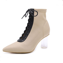 New Women Ankle Boots Lace Up Pointed Toe High Heels Chunky Block Heels Black Apricot Boots Pumps Women Boots BT23 simple women s pumps with lace up and chunky heeled design