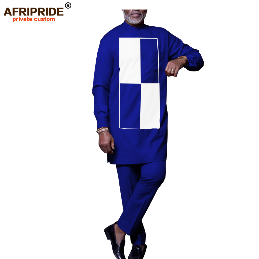 2019 Men`s 2 Piece Traditional Set African Dashiki Outfit Coats+ Ankara Pants Tracksuit Plus Size Outwear AFRIPRIDE A1916036