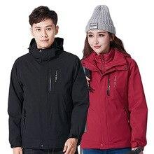 2019 New Winter Men Women 3 In 1 Windbreaker Outdoor Hiking Jacket Camping Softshell Outdoor Jacket Cycling Sports Hooded Coat