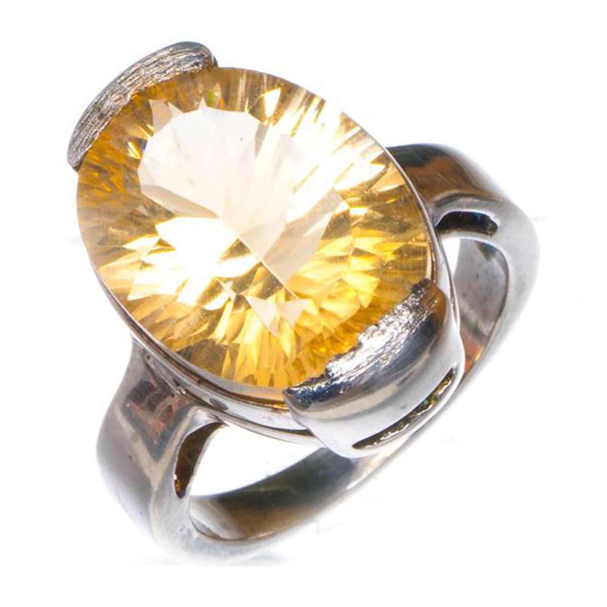 cocktail party ring natural citrine ring oval cut gemstone yellow gemstone sterling silver ring