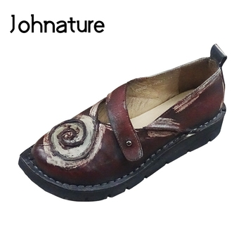 Johnature Leisure Pumps Women Shoes Genuine Leather Retro Round Toe Buckle Strap 2020 New Autumn Sewing Handmade Ladies Shoes