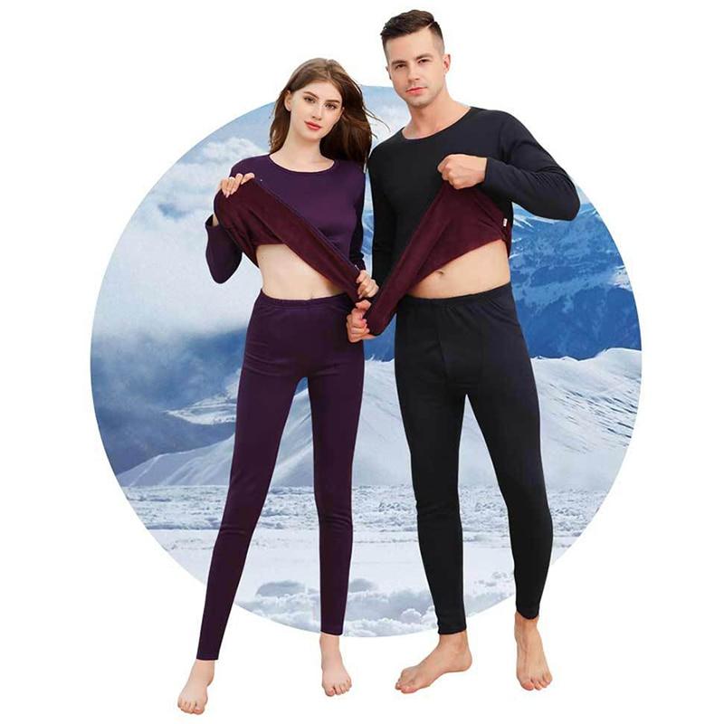 Plus Velvet Skiing Underwear Set Thick Warm Thermal Underwear Set Long Johns For Male Female Sportswear Running Hiking Underwear
