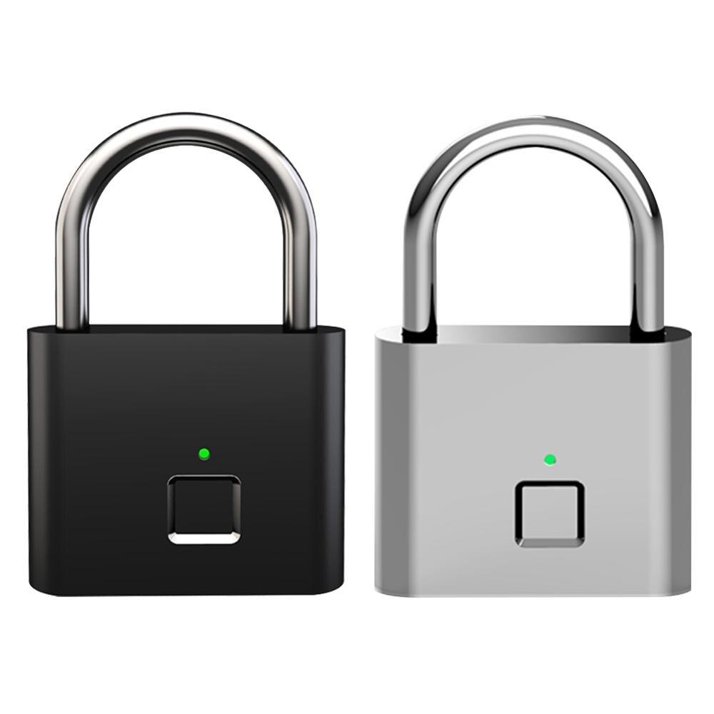 Smart Keyless USB Rechargeable Door Lock Fingerprint Padlock Quick Unlock Zinc Alloy Metal Anti-Theft Safety Door Luggage Lock