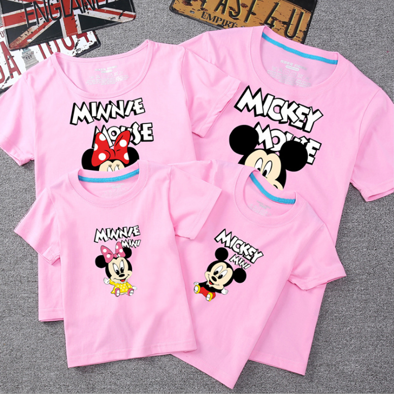 Family Matching Clothes Look Father Mother Son Daughter Clothing Tshirt Mom Daddy And Me Baby Boy Girl Mickey Minnie T-shirt
