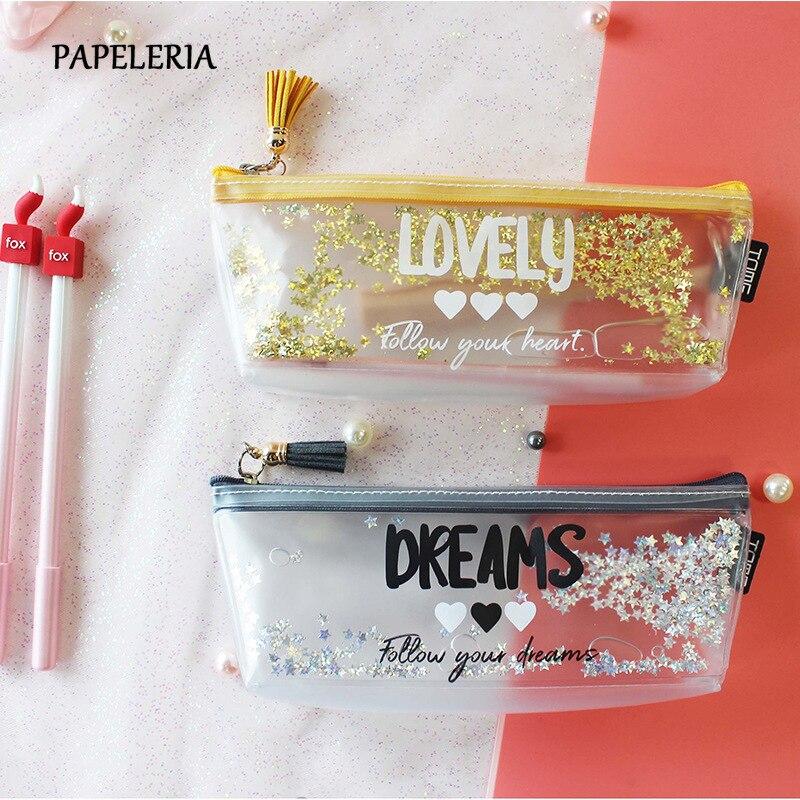 Kawaii Quicksand Sequin Pencil Case High Capacity Pencil Bag Transparent Glitter Pencilcase For Girls Pen Box School Supplies