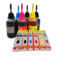 Cores PGI 525 6 CLI 526 Kit De Recarga de Tinta Para Canon PIXMA MG8150 MG6150 MG6250 MG8250 Impressoras PGBK BK C M Y GY|Kits de recarga de tinta|Computador e Escritório -