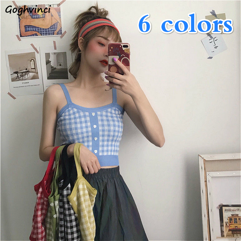 Modest Camis Women Spaghetti Strap Plaid Buttons Crop Top All-match Camisoles Knitting Chic Korean Style Leisure 6-color Slender Retro Pretty And Colorful