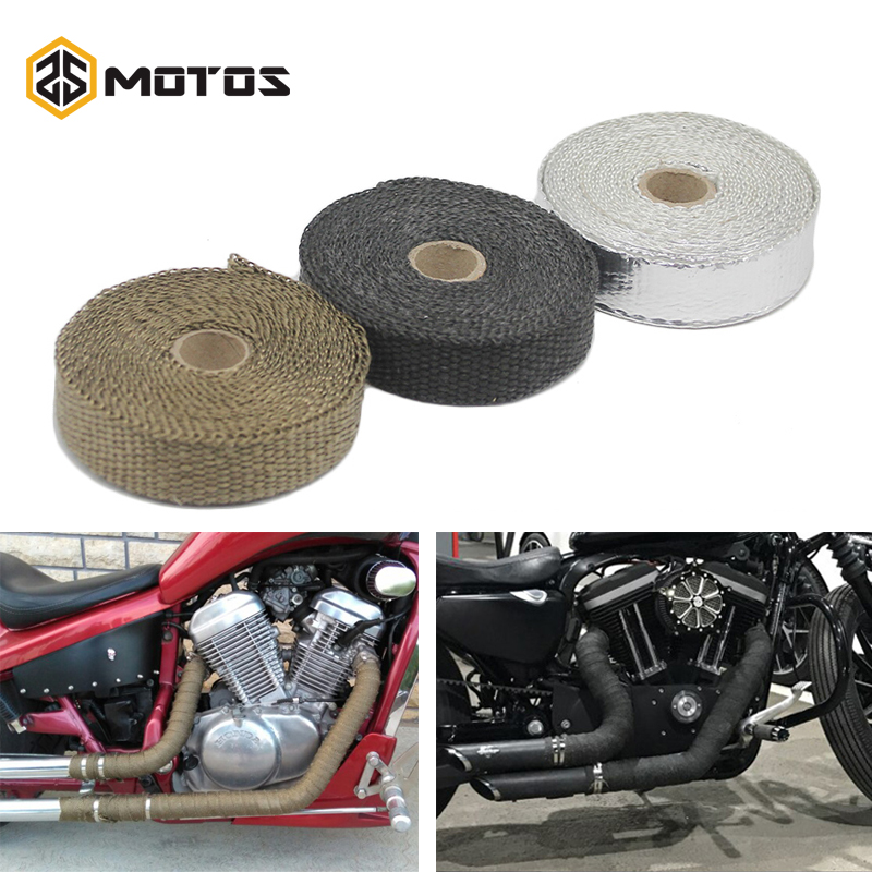 ZS MOTOS 5M 15M Exhaust Pipe Header Heat Wrap Heat Insulating Wrap Tape Fireproof Cloth Roll With Durable Steel Ties Kit header heat wrap heat wrap exhaust pipe moto - title=