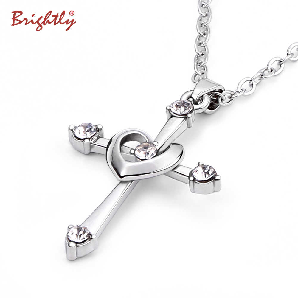 Brightly Heart Pendant Cross Necklace Luxury Rhinestones Choker Chain Necklaces for Women Gifts Fashion Jewelry Drop Shipping