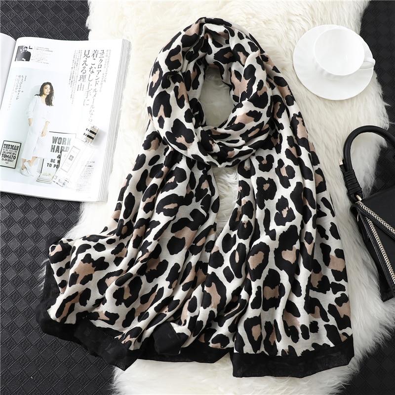 2020 Designer Brand Women Scarf Leopard Print Cotton Large Size Pashmina Lady Shawls Winter Warm Animal Pattern Foulard Hijabs