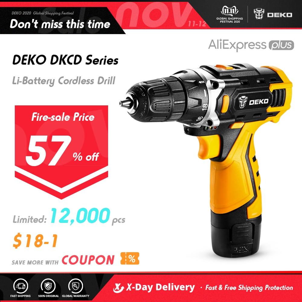 DEKO nouveau DKCD12/16/20V tournevis électrique Mini pilote dalimentation sans fil DC batterie Lithium-Ion maison bricolage sans clé