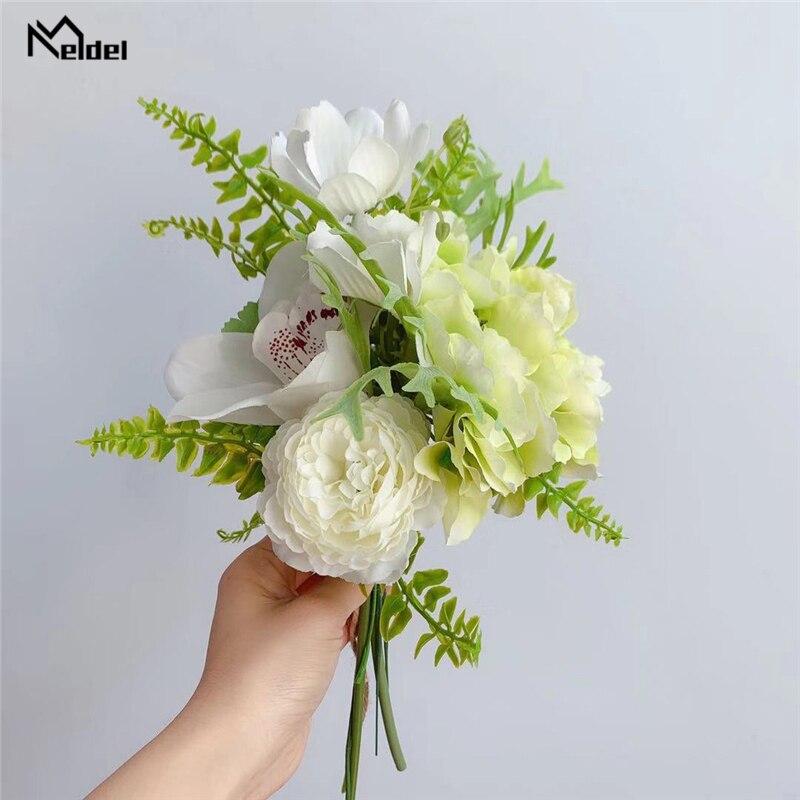Meldel White Bouquet Flower Artificial Rose Orchid Hydrangea Bridal Flower Bouquet Sims Azalea Camellia Wedding Flowers Bundle