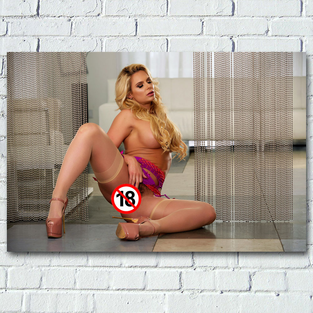 Adult model Phoenix Marie Blonde sexy body stockings Photo Wall Art Posters and Prints Canvas Art Painting For Living Room Decor 1