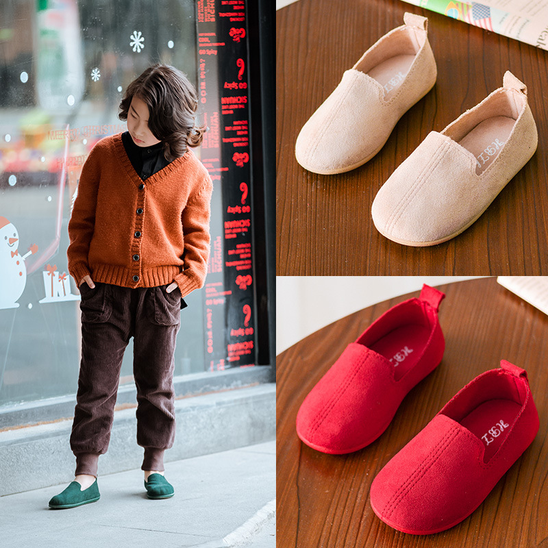 Unisex Kids Shoes For Boys Girls Slip-on Loafers Children Casual Sneakers Solid Color Soft Toddlers Boys Flats Moccasins 4 Color
