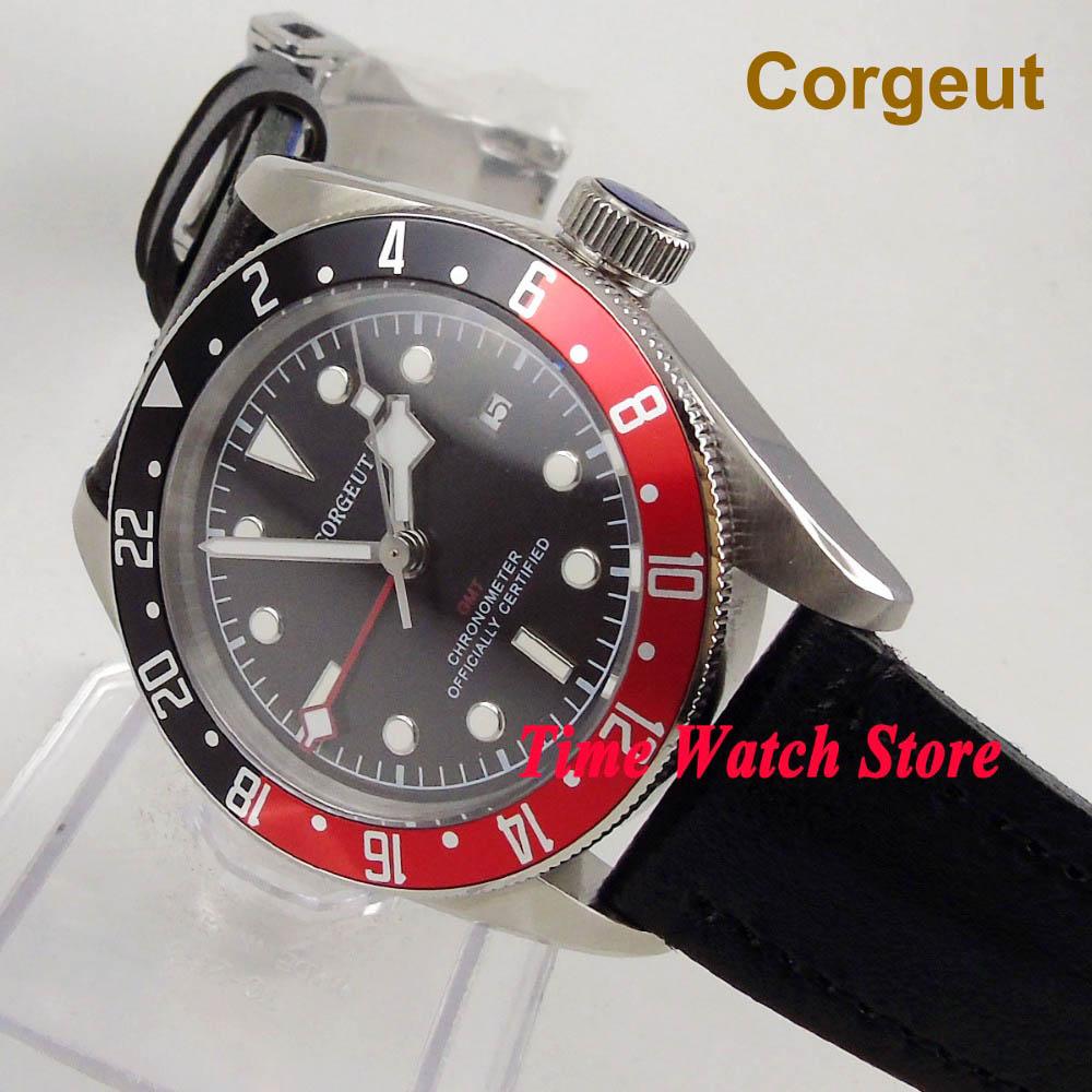 Quality 41mm Corgeut GMT wrist watch men waterproof dive pilot leather bracelet steel black dial luminous sapphire japan date