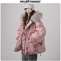 Privathinker Womans Harajuku Print 2019 Winter Hooded Parka Coats Female Warm Jacket Lady Thicken Fashions Outwear Winderbreak