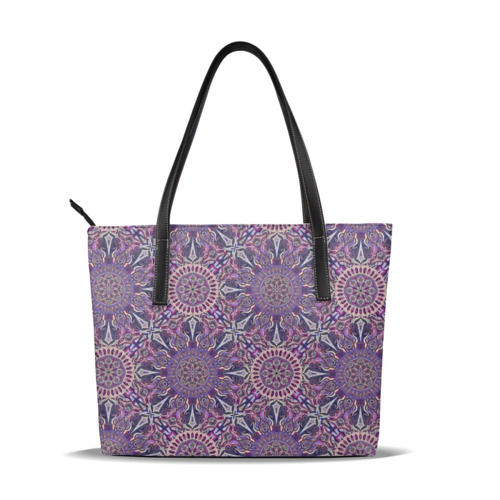 NOISYDESIGNS Women Messenger Bags Leather Casual Ornamental Magical Purple Handbags Female Bag Vintage Big Tote Shoulder Bag