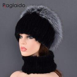 New Winter Women Fur Hat Scarf Sets100% Real Rex Mink Fur Comfortable Warm Fur Casual Female Lady Fox Fur Caps Scarves