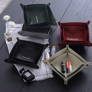 Leather Storage Box Desktop Storage Storage Tray Jewelry Key Sundries Makeup Lipstick Portable Home Storage Appliance