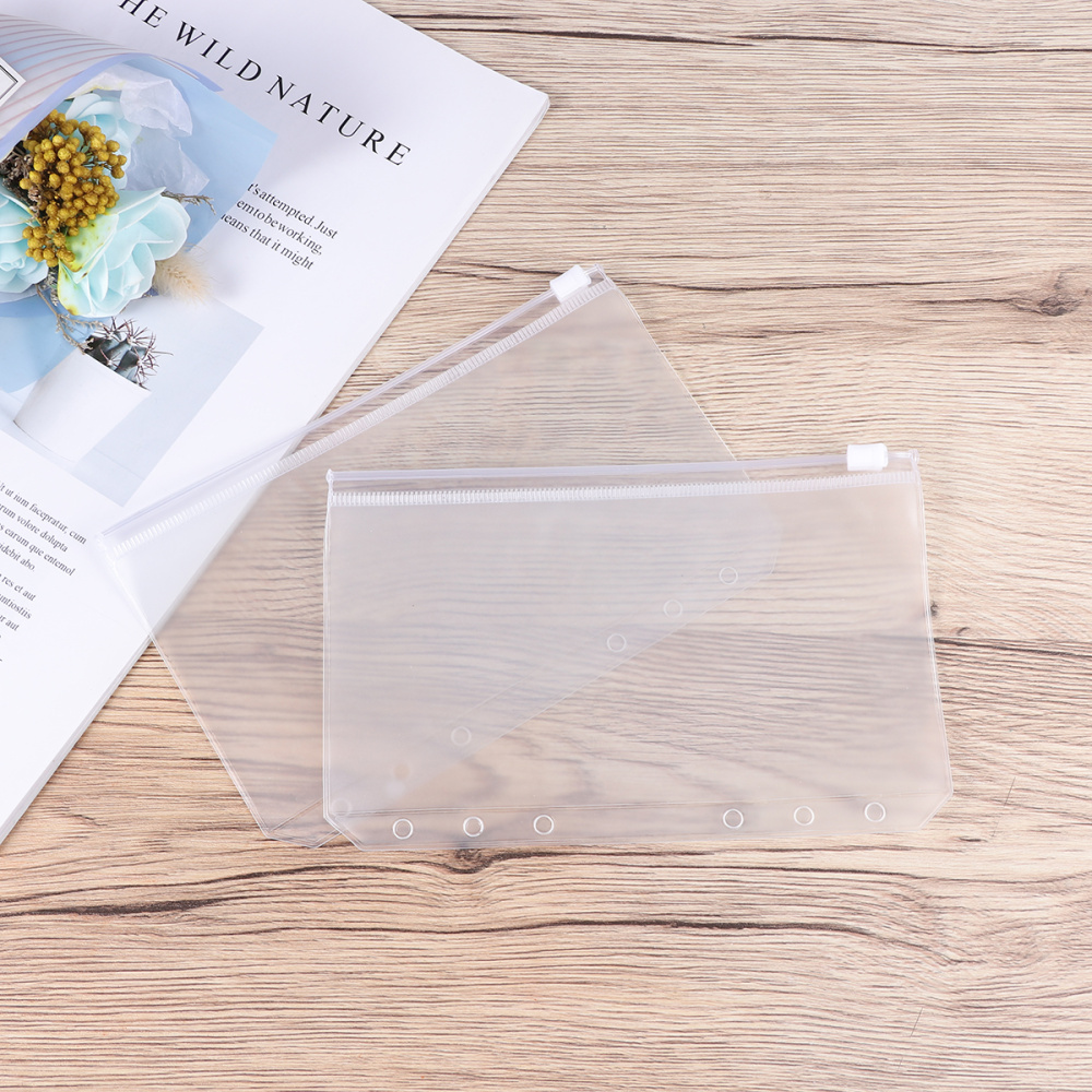 30PCS A6 Zipper Paper Storage Bag Transparent Business Side Pocket Loose-leaf Case
