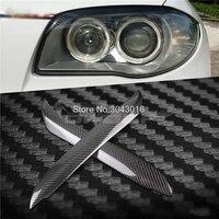 High Quality Real Carbon Fiber decoration Headlights Eyebrows Eyelids cover For 1 series BMW E81 E82 E87 E88 128i 135i 2007~2011