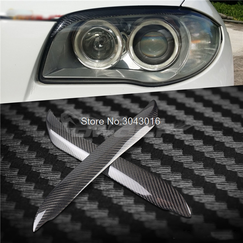High Quality Real Carbon Fiber decoration Headlights Eyebrows Eyelids cover For 1 series BMW E81 E82 E87 E88 128i 135i 2007~2011