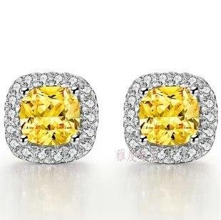 TE212 2 ct coussin coupe exquis élément luxe synthétique gemme boucles d'oreilles pour femmes mariage fiançailles boucles d'oreilles couleur or blanc