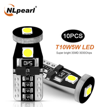 NLpearl 10x Signal Lamp T10 W5W Led Canbus Bulbs 3030SMD W5W Led 168 194 Car Interior Reading Lights License Plate Light White 2 pcs w5w t10 12 smd 3030 super bright car led bulbs signal license plate lamps 194 168 interior lights canbus no error 7 colors