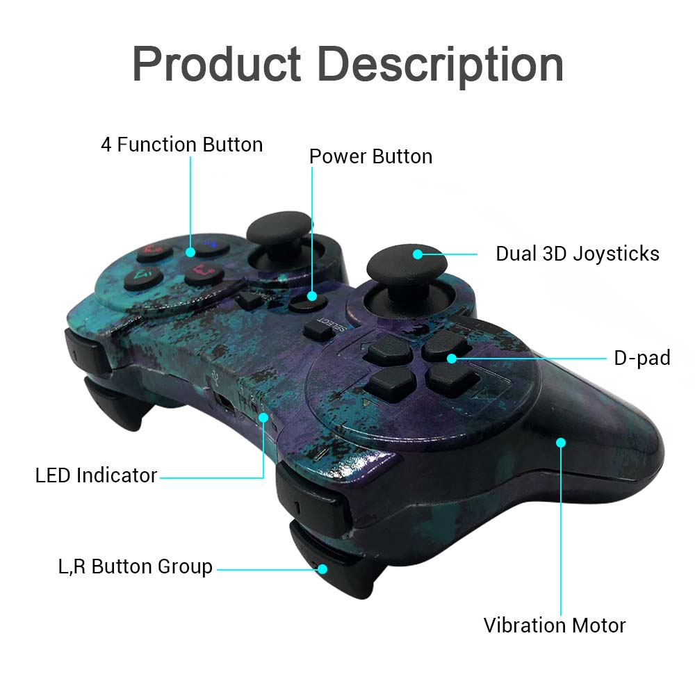 New Wireless PS3 Controller PS3 Remote for Sony Playstation 3with Charging Cable and Double Shock