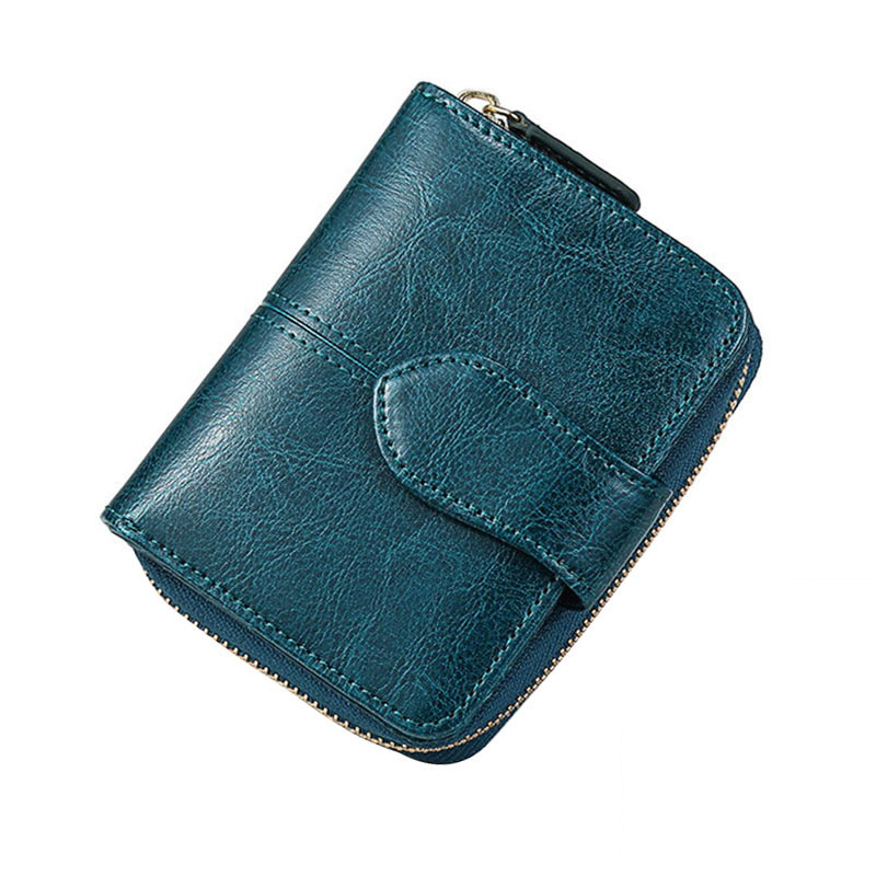 Billfold Oil Wax Genuine Leather Wallets Women Short Mini Clutch Purse Soild Coin Pocket Credit Card Holder Cowhide Bag
