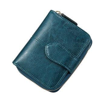 Billfold Oil Wax Genuine Leather Wallets Women Short Mini Clutch Purse Soild Coin Pocket Credit Card Holder Cowhide Bag фото