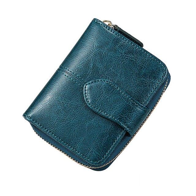 Billfold Oil Wax Genuine Leather Wallets Women Short Mini Clutch Purse Soild Coin Pocket Credit Card Holder Cowhide Bag