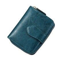 Billfold billetera de cuero genuino con cera de aceite para mujer, Mini bolso de mano corto con bolsillo para monedas, tarjetero de piel de vaca