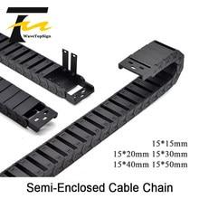 Kabel Ketting Semi-Gesloten 15*20 30 40 50Mm Draad Transmissie Carrier Plastic Drag Sleepkabel Voor 3D printer Cnc Graveermachine