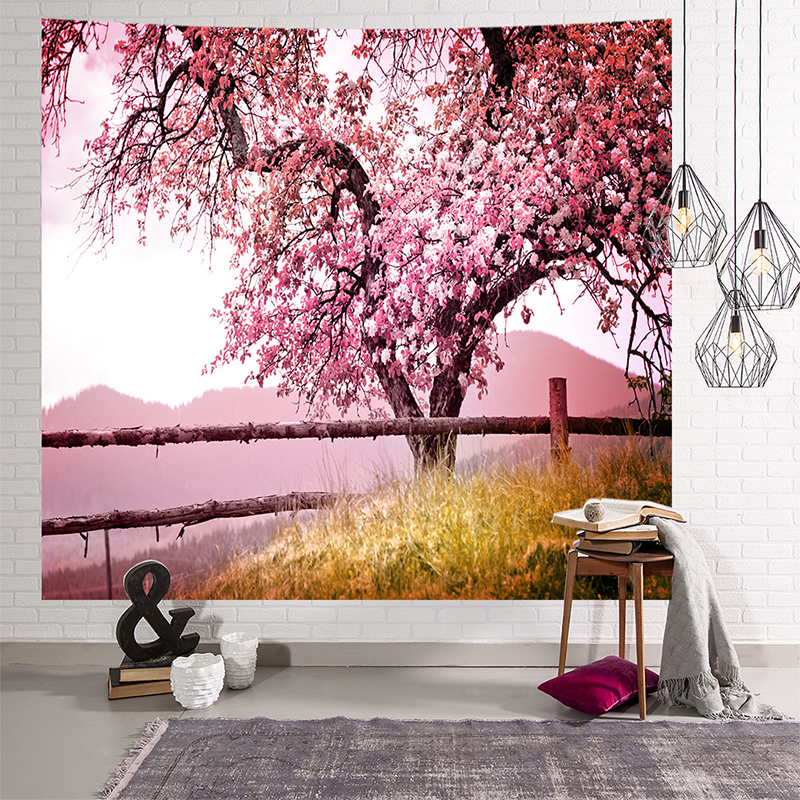 Image 5 - Mandala Indian Tapestry Wall Hanging Romantic Cherry Blossoms  Misty Mountain Bohemian Yoga Mat Home Bedroom Art CarpetTapestry   -
